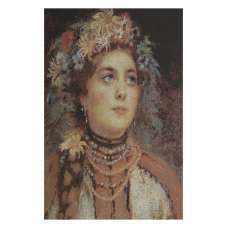 Russian Beauty in Summer Garland Stretched Wall Tapestry