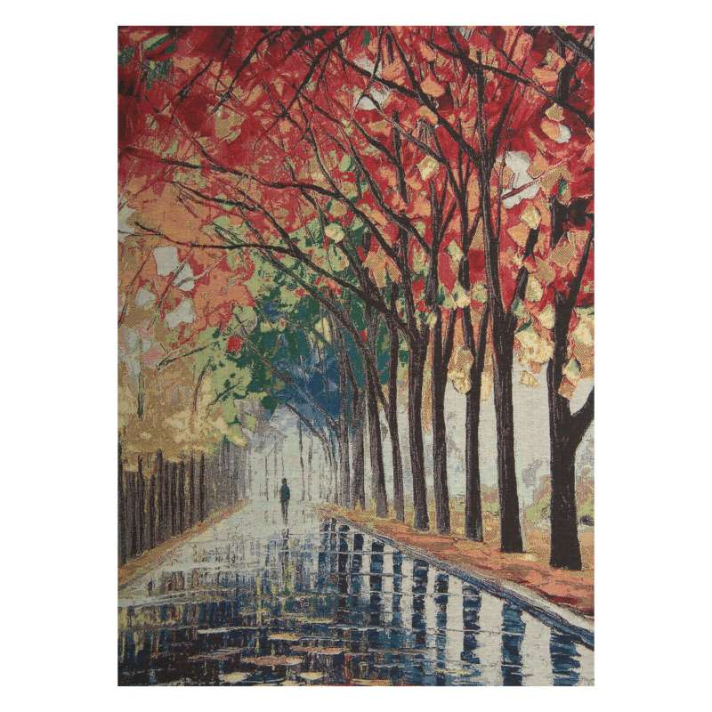 Walking Alone in the Rain Stretched Wall Tapestry