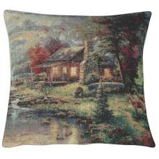 Tranquil Cabin and Deer Decorative Pillow Cushion Cover
