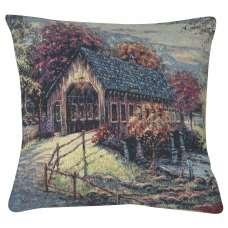 Autumn Covered Bridge Decorative Pillow Cushion Cover