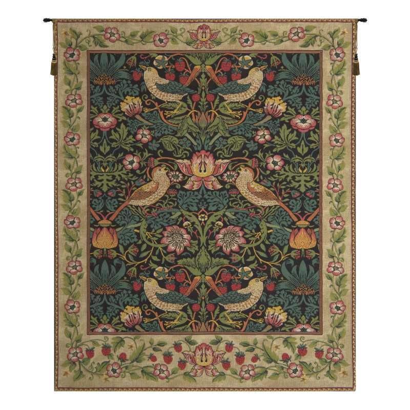 Strawberry Thief Black William Morris European Tapestry