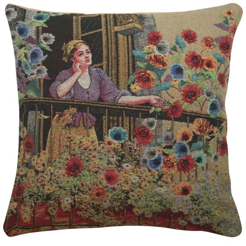 Thoughtful Floral Terrace Decorative Pillow Cushion Cover