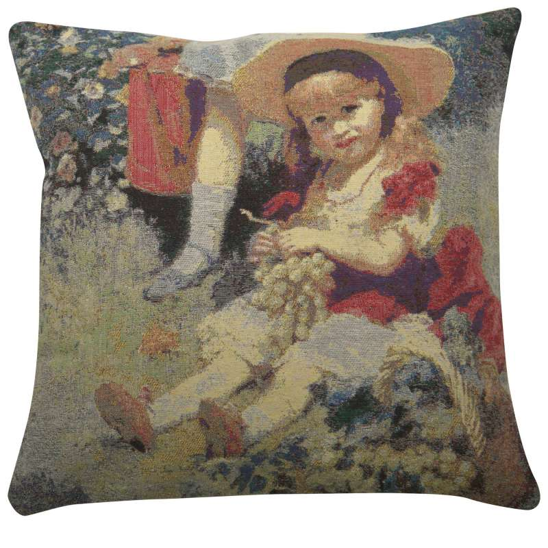 Child with Grapes Decorative Pillow Cushion Cover