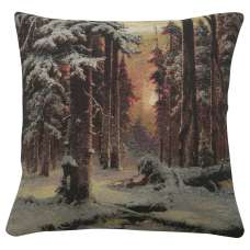 A Winter Forest Sunset Decorative Pillow Cushion Cover