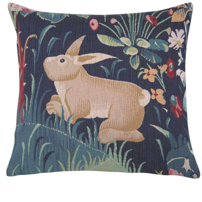 Lapin Bleu Decorative Tapestry Pillow