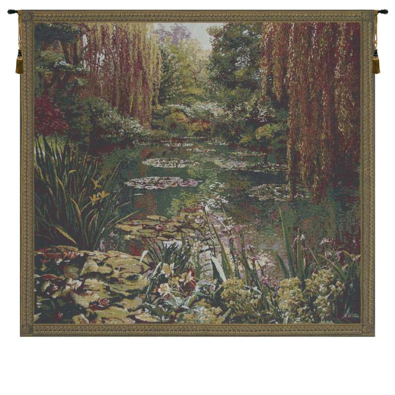 Monet's Garden 3 Small with Border Flanders Tapestry Wall Hanging