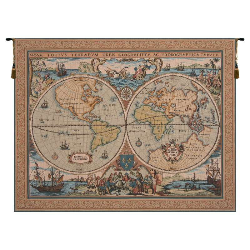 Maritime Map Large French Tapestry Wall Hanging