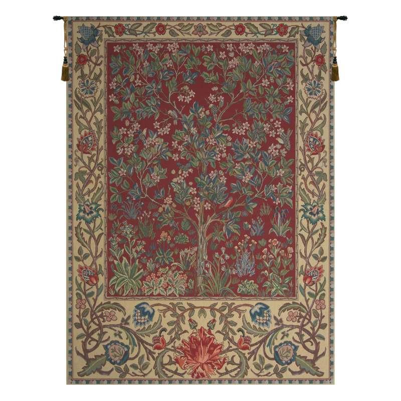 Tree of Life Red William Morris Belgian Tapestry