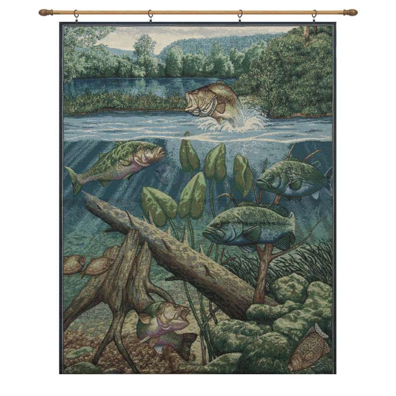 Fishin' Hole with Looped Black Rod Fine Art Tapestry
