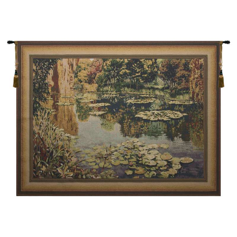 Lake Giverny Light With Border Belgian Tapestry Wall Hanging
