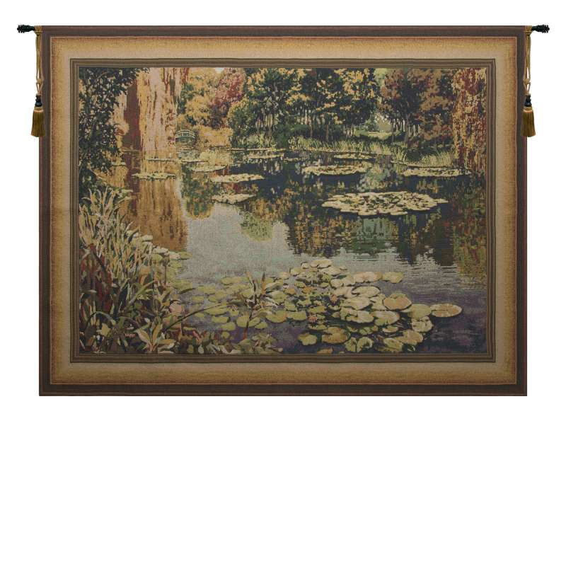 Lake Giverny Light With Border Flanders Tapestry Wall Hanging