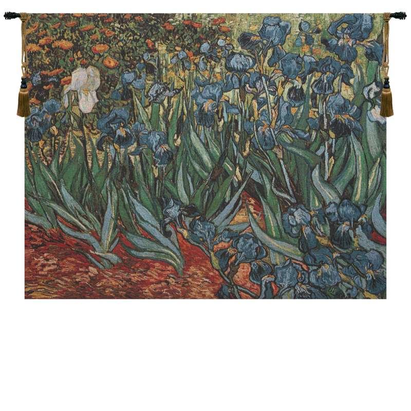 Irises In Garden II Belgian Tapestry Wall Hanging