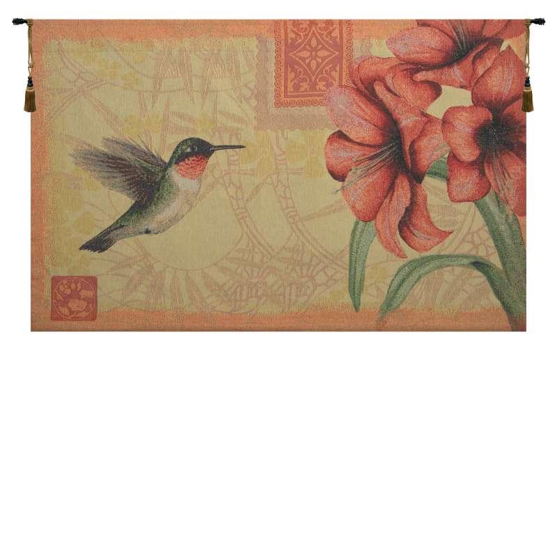 Hummingbird and Amaryllis Fine Art Tapestry