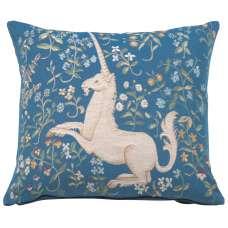 Licorne Fleuri Blue French Tapestry Cushion