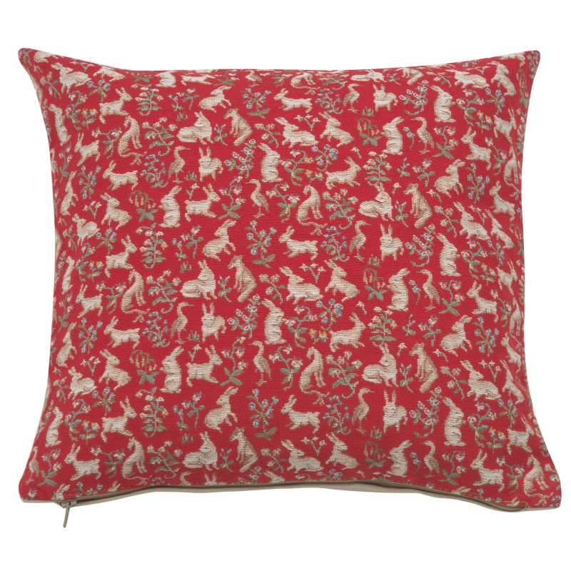 Mille Fleurs and Little Animals Red French Tapestry Cushion