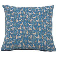 Mille Fleurs and Little Animals Blue Decorative Tapestry Pillow