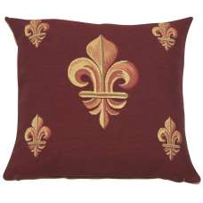 Five Fleur de Lys Red French Tapestry Cushion
