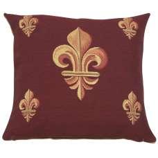Five Fleur de Lys Red Decorative Tapestry Pillow