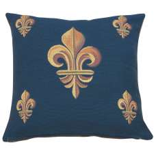 Five Fleur de Lys Blue French Tapestry Cushion