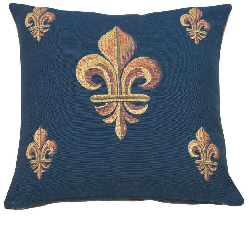 Five Fleur de Lys Blue French Tapestry Cushion