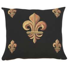 Five Fleur de Lys Black French Tapestry Cushion