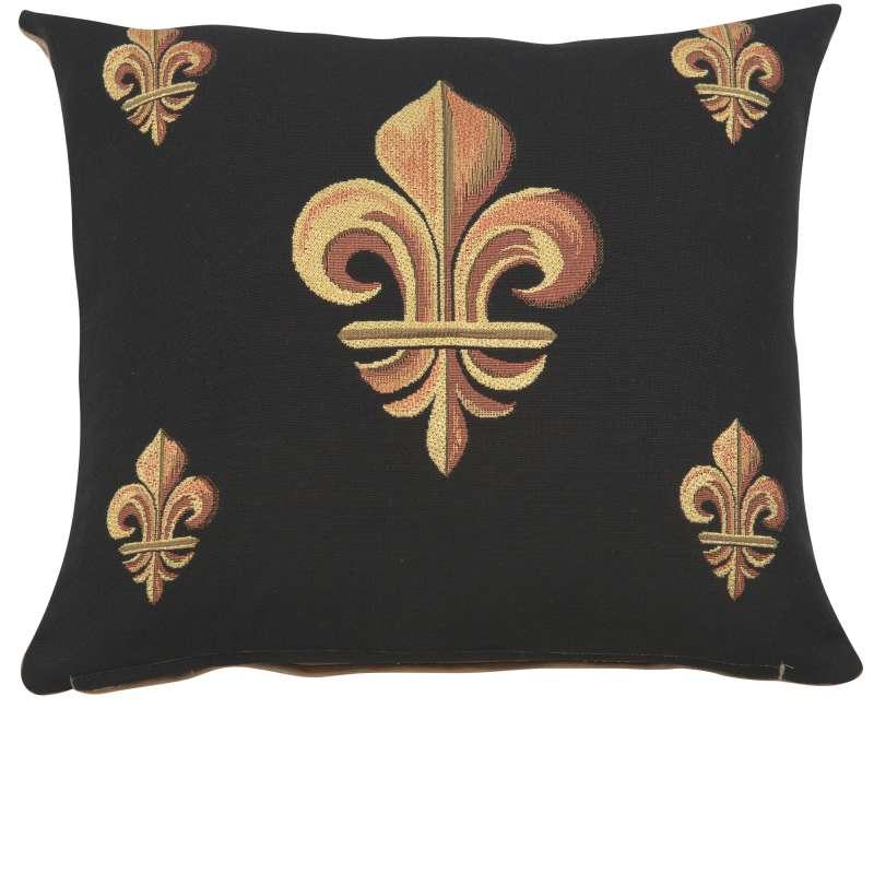 Five Fleur de Lys Black French Tapestry Cushion