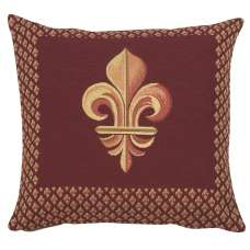 Framed Fleur de Lys Red Decorative Tapestry Pillow