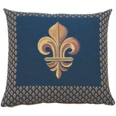 Framed Fleur de Lys Blue French Tapestry Cushion