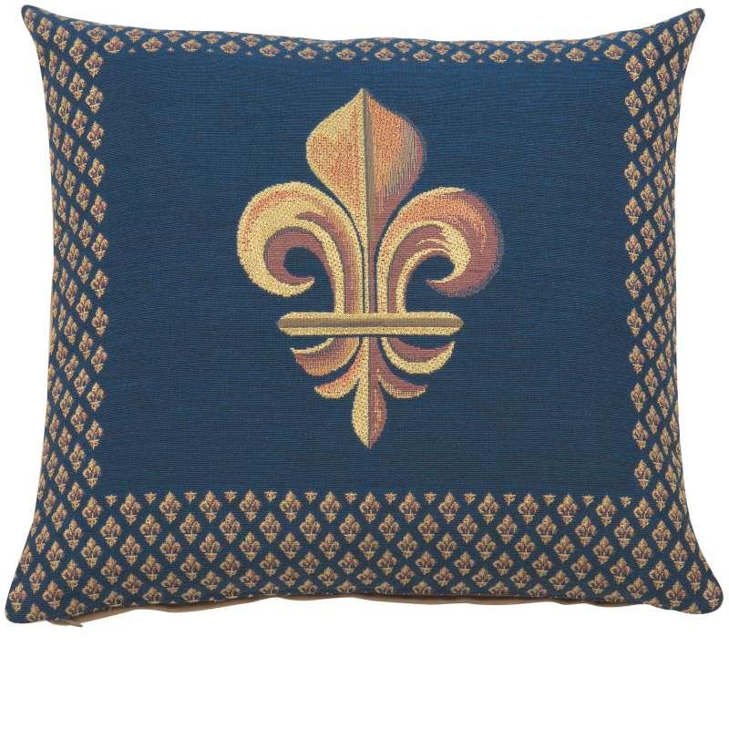 Framed Fleur de Lys Blue French Tapestry Cushion