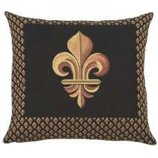 Framed Fleur de Lys Black French Tapestry Cushion