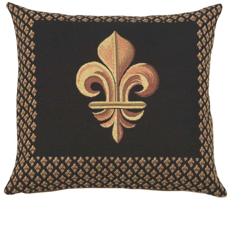 Framed Fleur de Lys Black French Tapestry Cushion