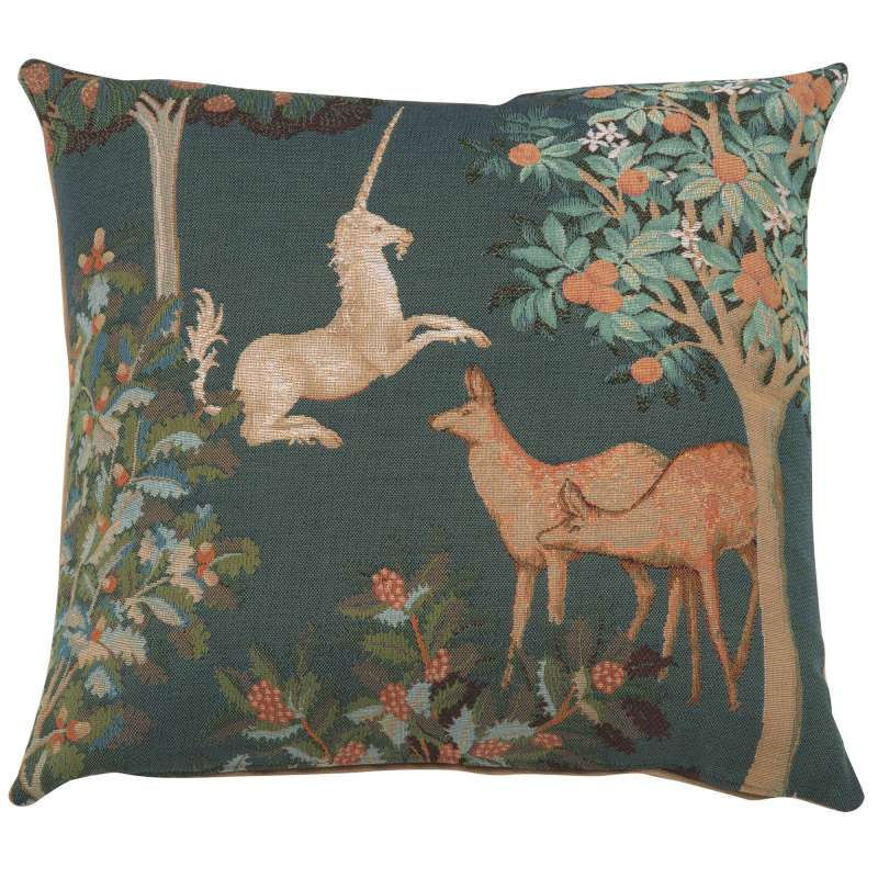 Unicorn and Does Forest Blue Decorative Tapestry Pillow