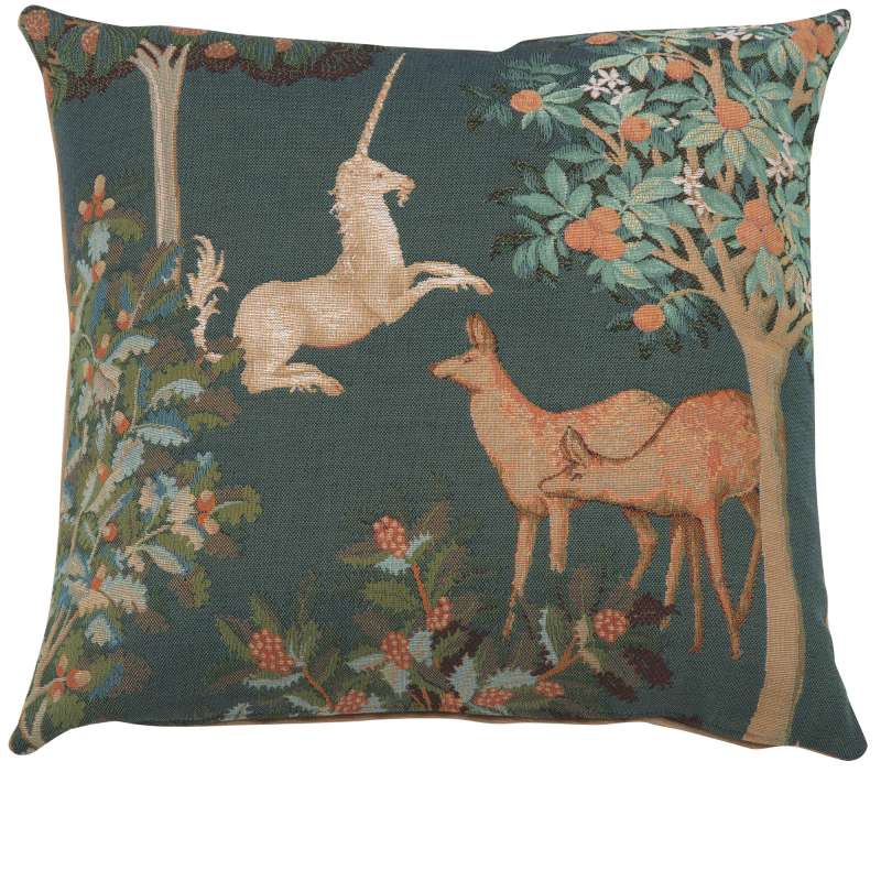 Unicorn and Does Forest Blue French Tapestry Cushion
