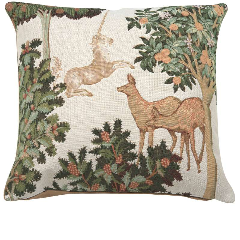 Unicorn and Does Forest White French Tapestry Cushion