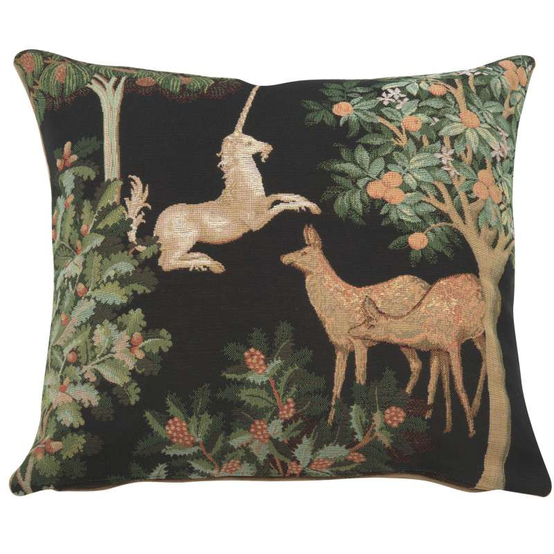 Unicorn and Does Forest Black French Tapestry Cushion