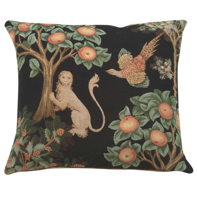 Lion and Pheasant Forest Black French Tapestry Cushion