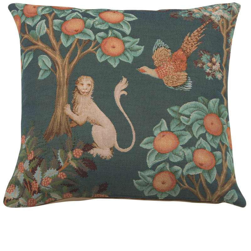 Lion and Pheasant Forest Blue French Tapestry Cushion