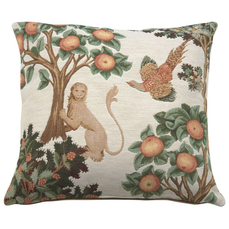 Lion and Pheasant Forest White Decorative Tapestry Pillow