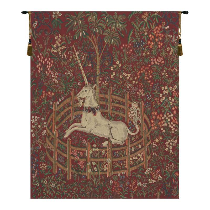 Unicorn In Captivity Red  Belgian Tapestry