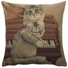 Cat With Piano European Cushion Cover