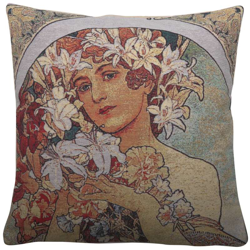Flower by Mucha Decorative Pillow Cushion Cover