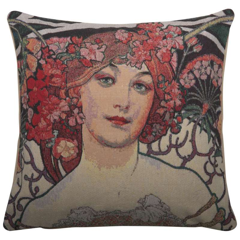 Champenois by Mucha Decorative Pillow Cushion Cover