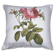Rose On Right White French Tapestry Cushion