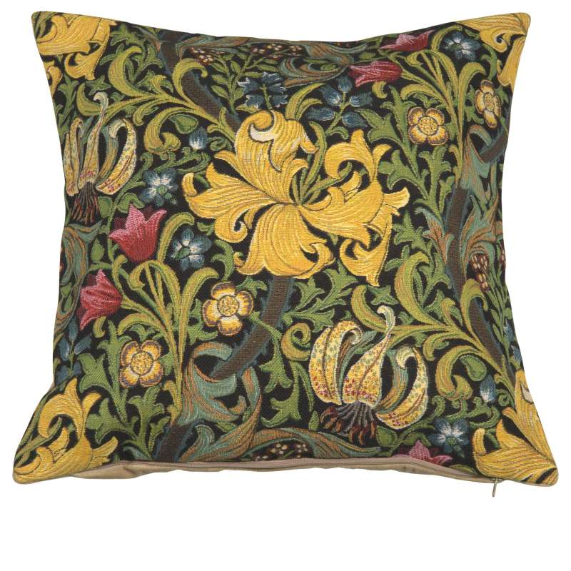 Golden Lily Black William Morris European Cushion Cover