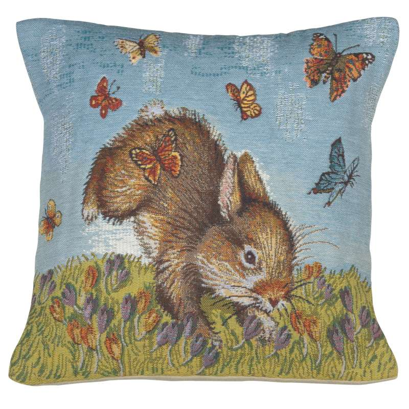 Bunny and Buterflies Decorative Tapestry Pillow
