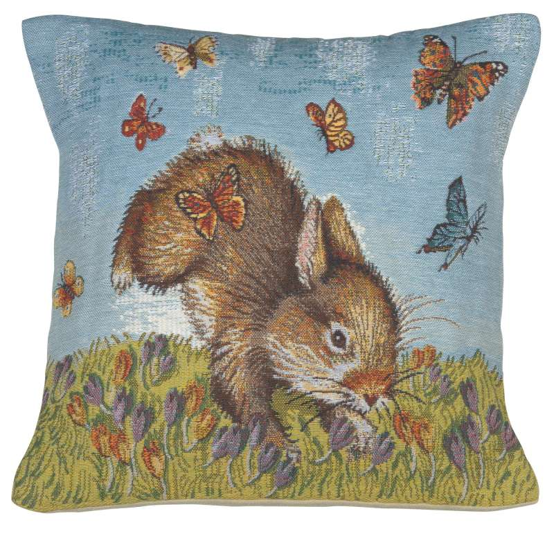 Bunny and Buterflies Belgian Tapestry Cushion