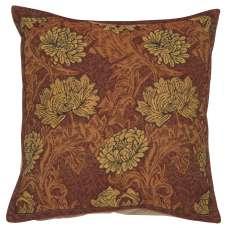 Chrysanthemum Brown Belgian Cushion Cover