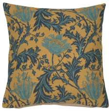 Anemone Blue Gold Belgian Cushion Cover