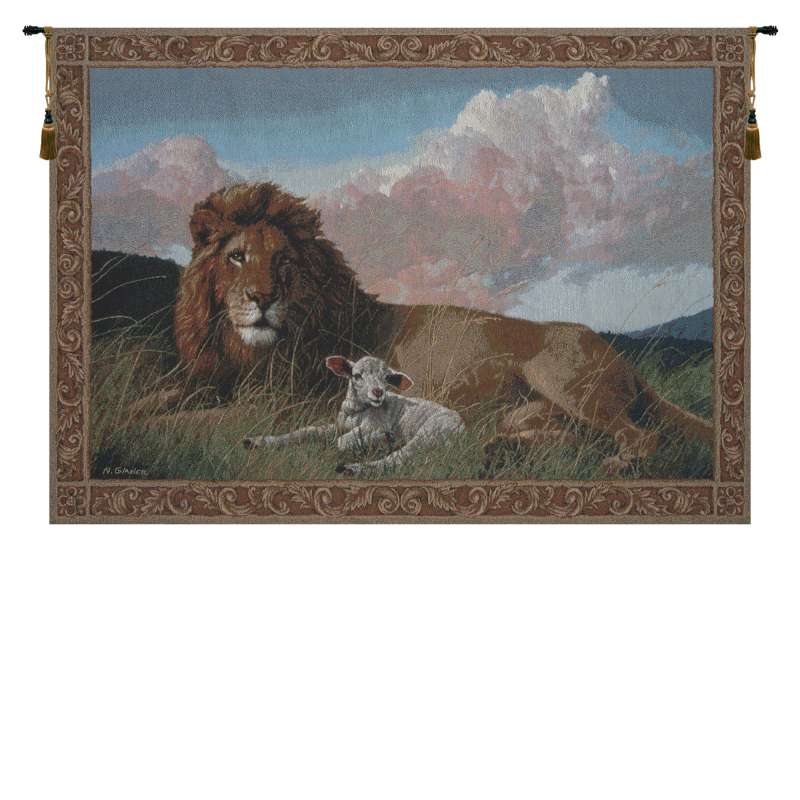 Lion And Lamb II Tapestry of Fine Art