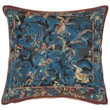Animals with Arisoloches Blue French Tapestry Cushion